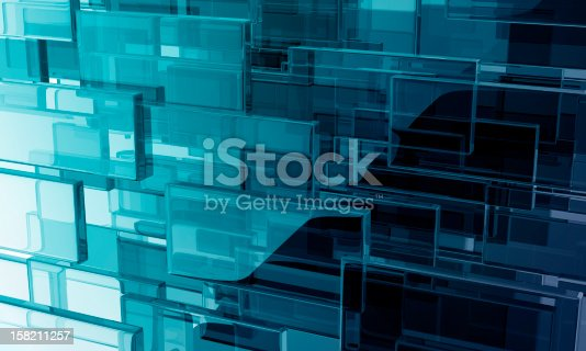 reflective blue abstract background composed by glass rectangles.