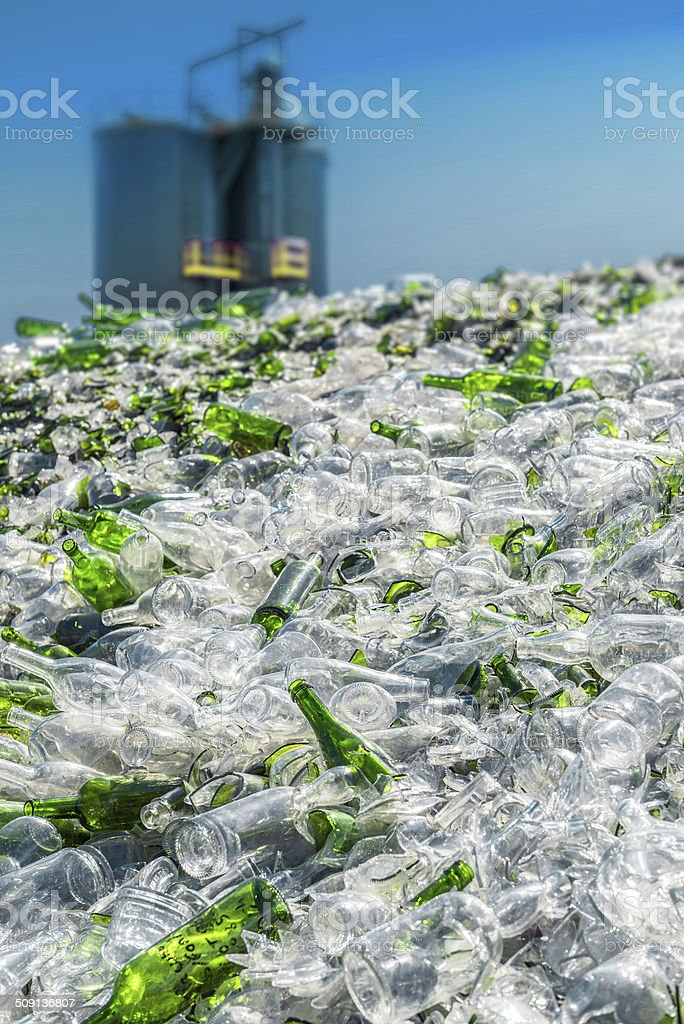 glass recycling plant stock photo