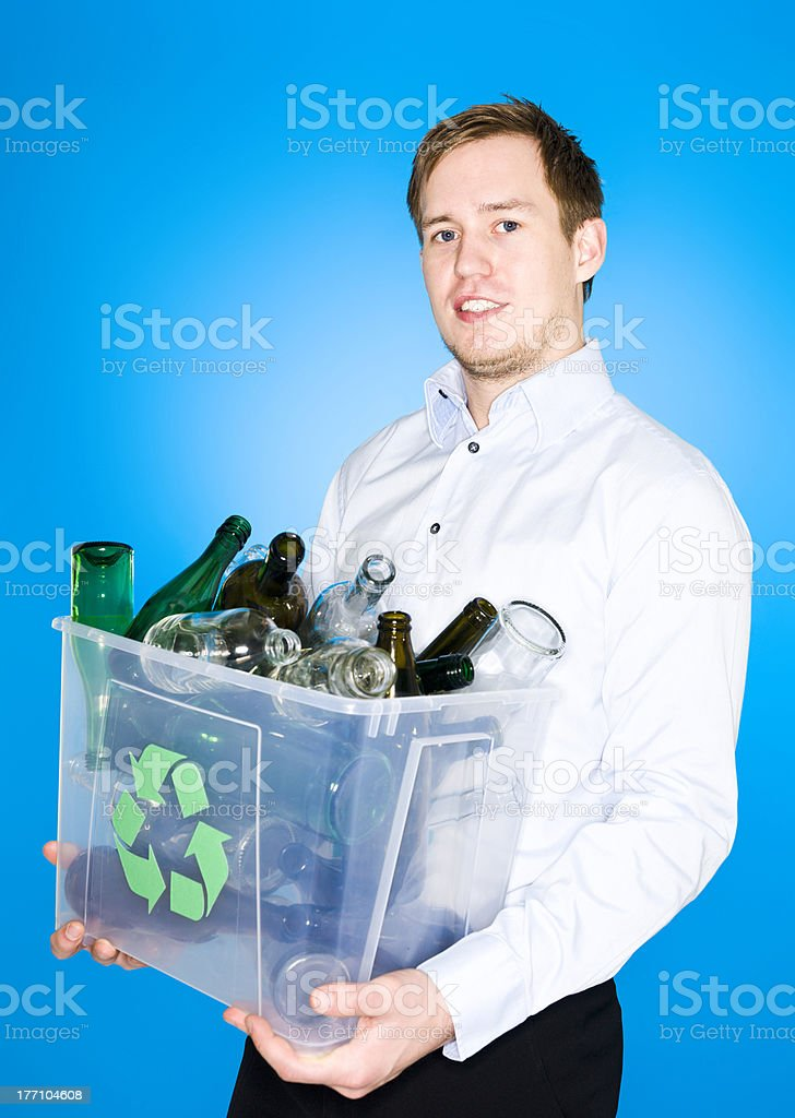 Glass recycling woman royalty-free stock photo