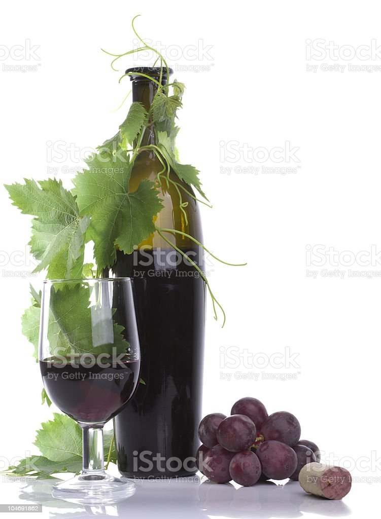 Glass red wine and bottle stock photo