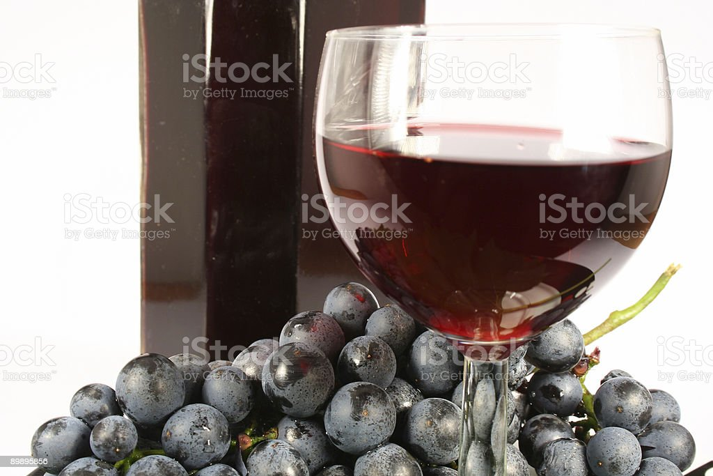 Glass red wine and grape royalty-free stock photo