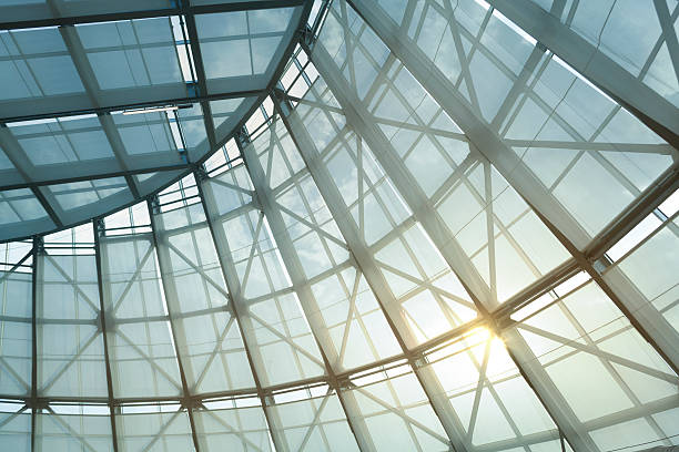 glass roof and curtain of greenhouse with sunlight - boog architectonisch element stockfoto's en -beelden
