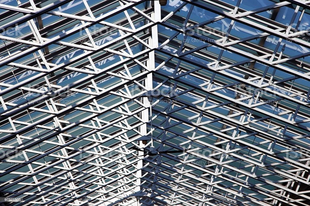 Glass roof and steel beams royalty-free stock photo