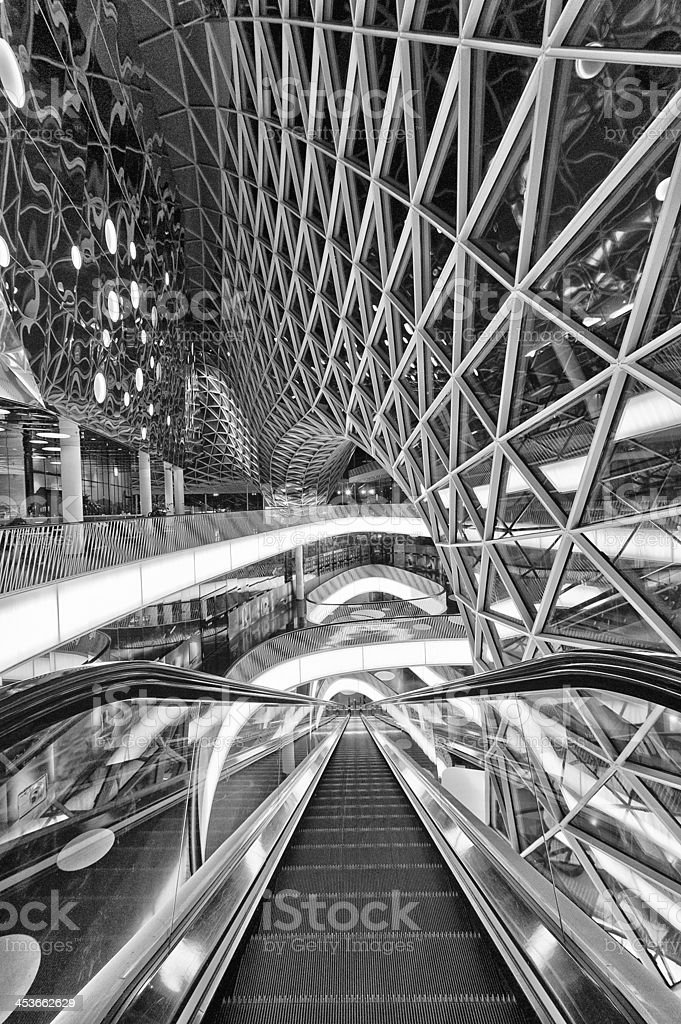 Glass roof construction and reflections royalty-free stock photo