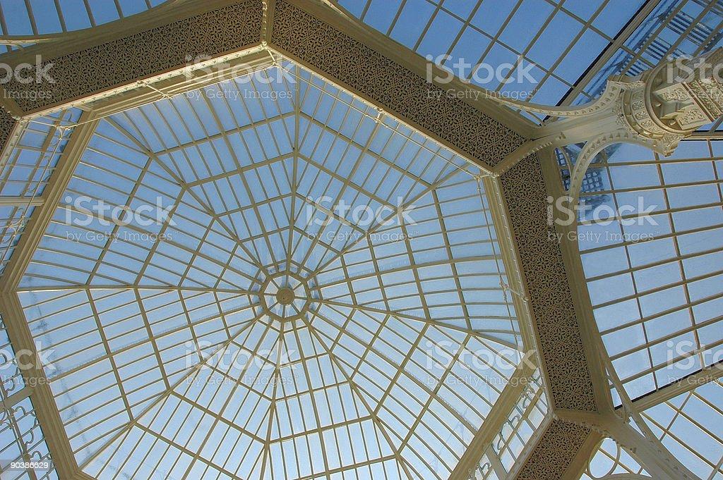 Glass roof of historical winter garden stock photo