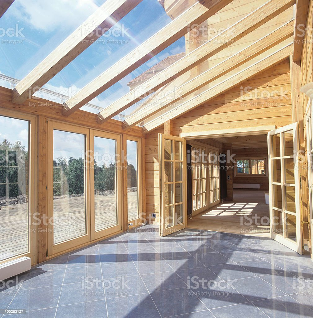 Glass Roof Of Wooden House Stock Photo & More Pictures Of