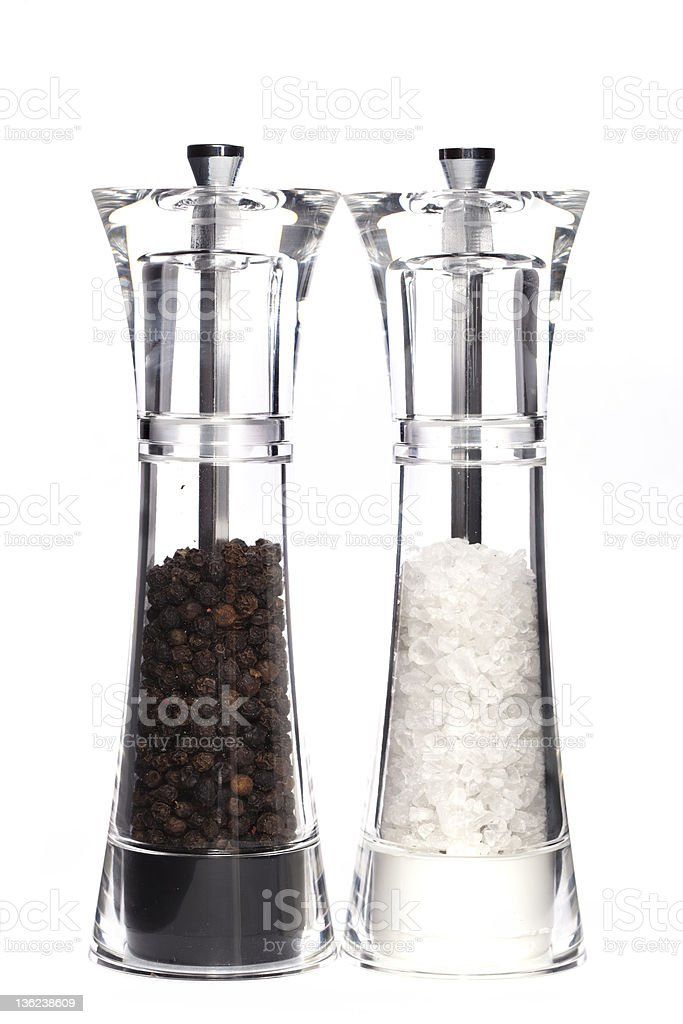 Glass salt and pepper stock photo