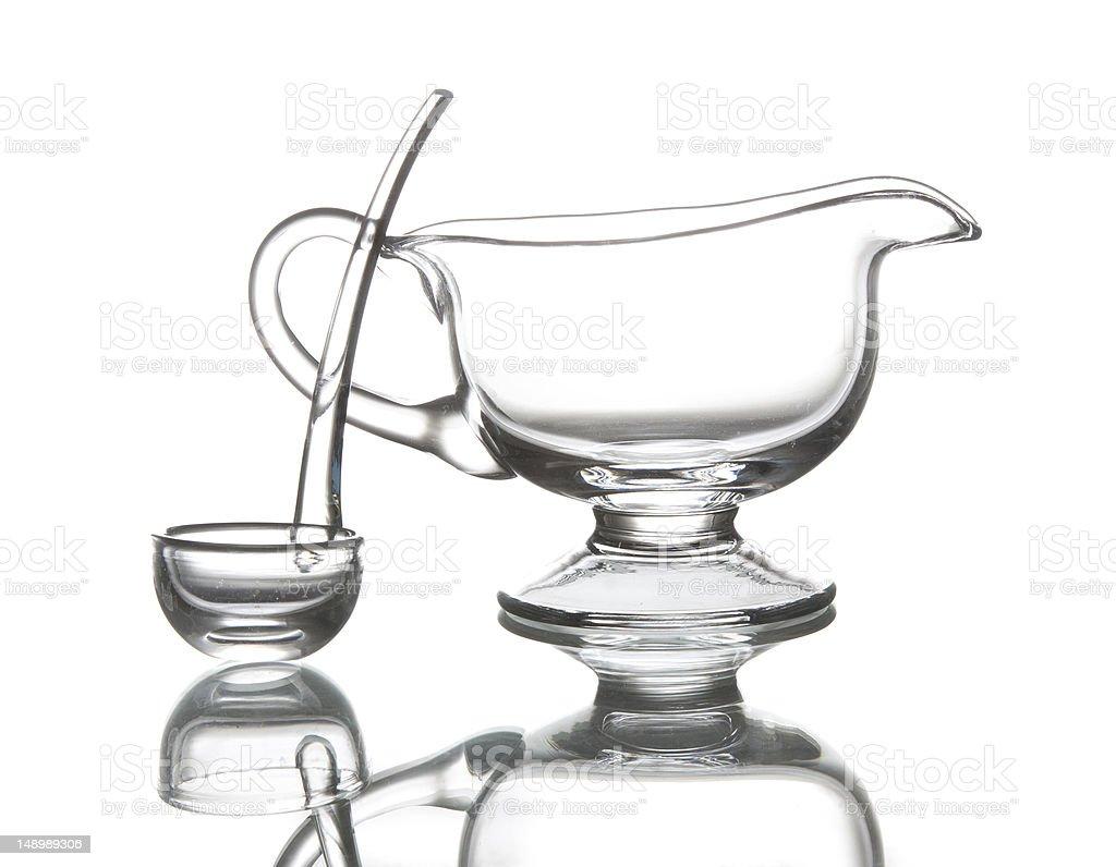 Glass sauce pot stock photo