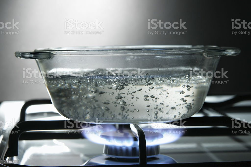 Glass saucepan stock photo