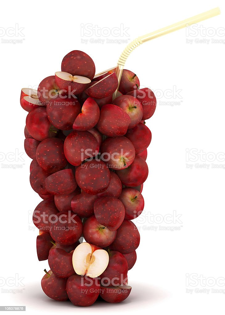 XXXL Glass shape assembled of apples with straw royalty-free stock photo