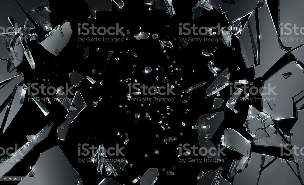 Glass Shattering Shattered Glass on black background. Large and excellent quality. Black Color Stock Photo