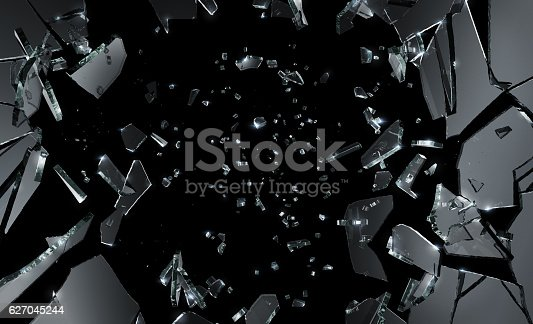 Shattered Glass on black background. Large and excellent quality.