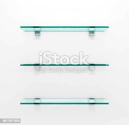 Glass shelves on light grey background. 3d illustration