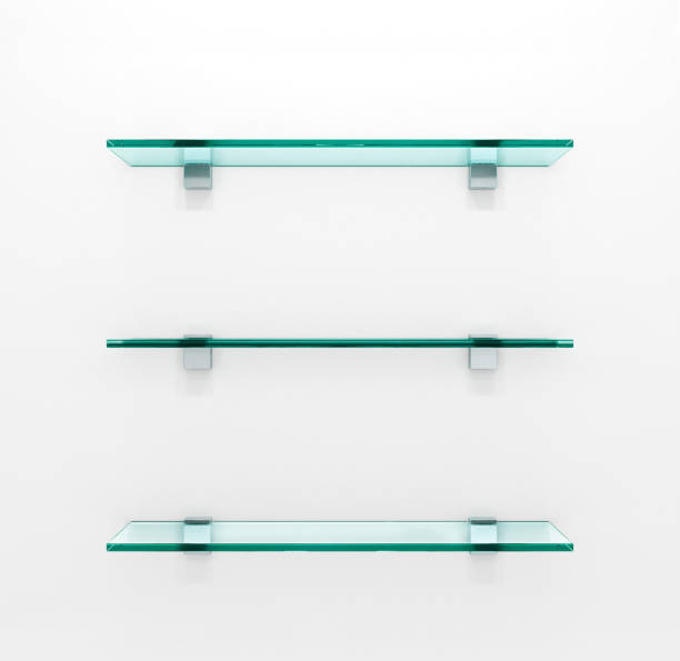 Glastablare auf grauem Hintergrund. 3D illustration – Foto