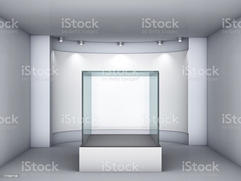 glass showcase and niche with spotlights stock photo
