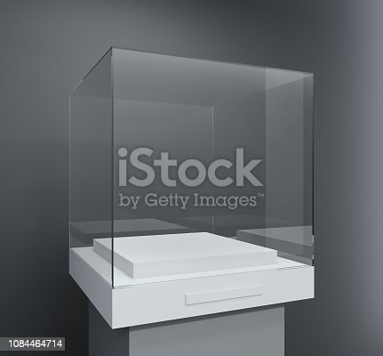 istock Glass showcase in the form of a cube 1084464714
