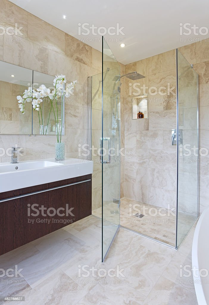 Glass Shower Cubicle stock photo