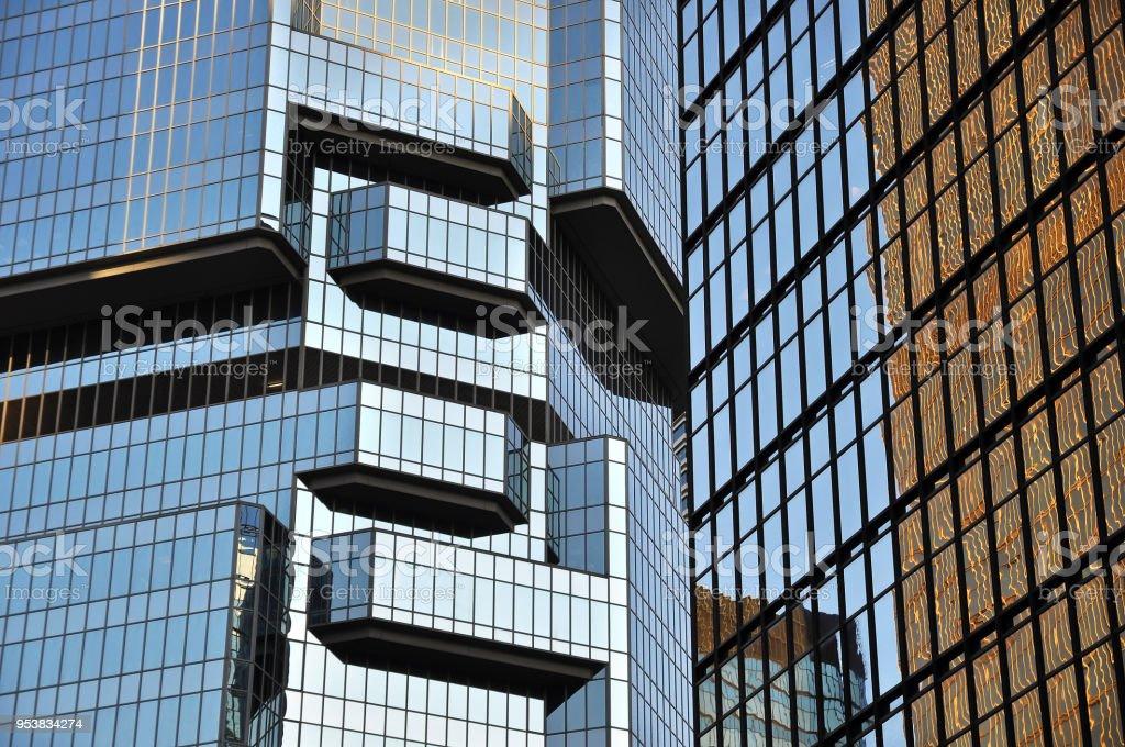 Glass skyscrapers reflecting light, Hong Kong Island stock photo