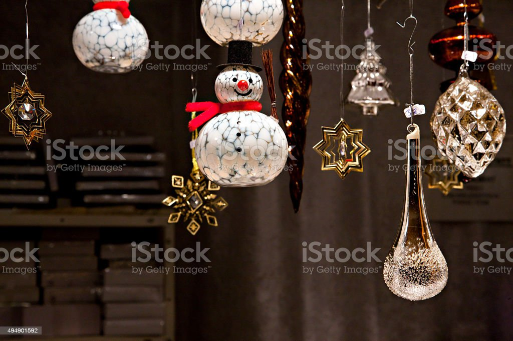 Glass Snowmen Christmas Tree Ornament At Christmas Market Stock Photo Download Image Now Istock