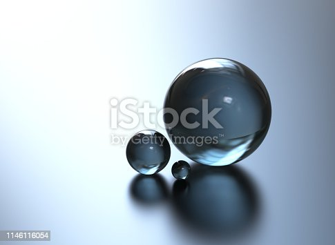 istock Glass sphere abstract blue background 1146116054