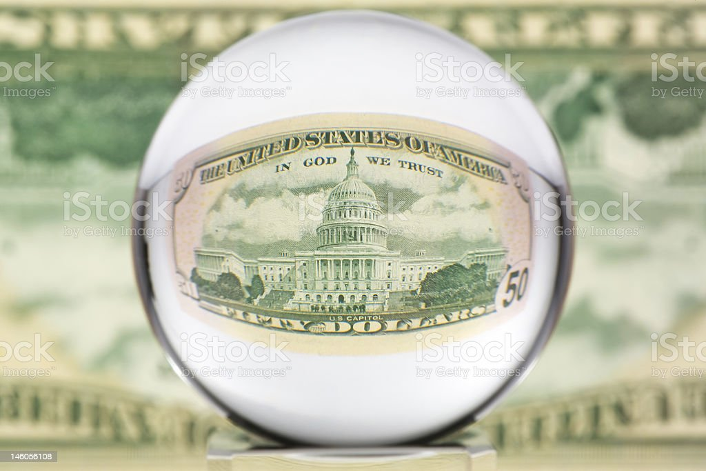 Glass sphere, dollar, one royalty-free stock photo
