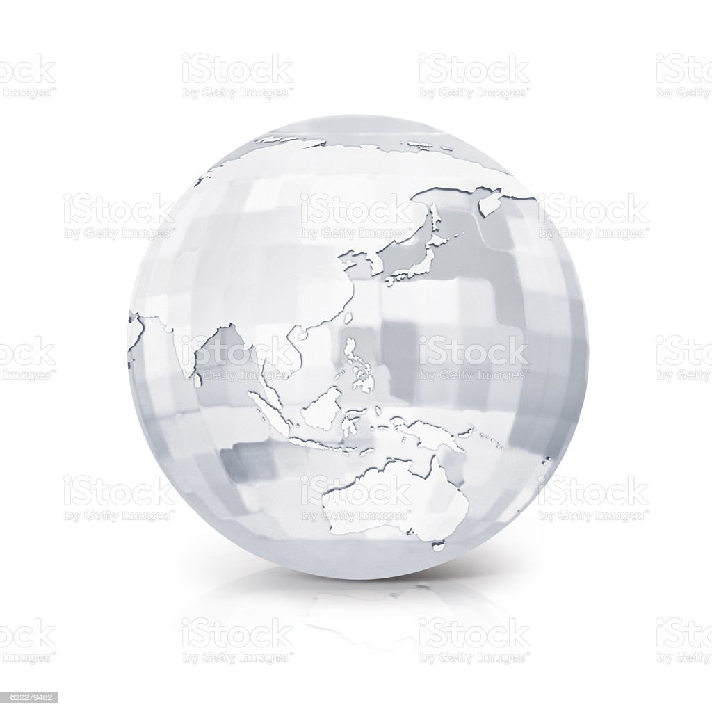 Glass Square globe 3D illustration Asia & Australia map stock photo