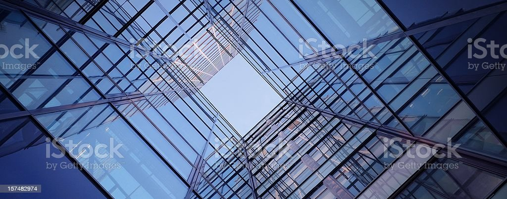 Glass square of a bank complex royalty-free stock photo