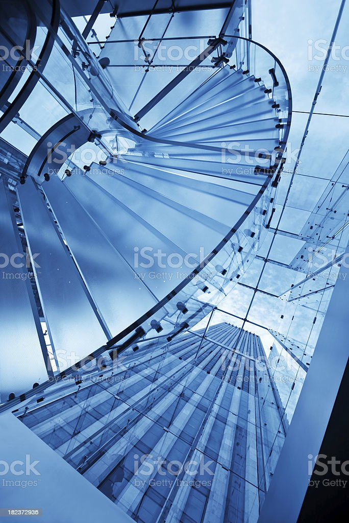 glass staircase in manhattan stock photo
