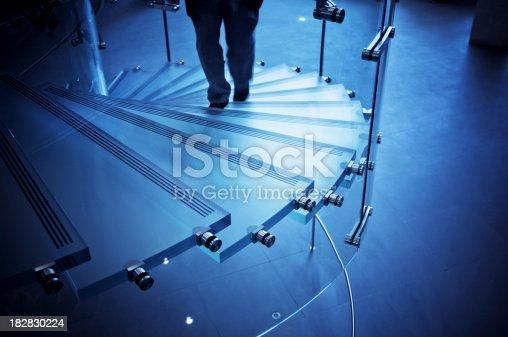 Modern Glass Staircasewalking man
