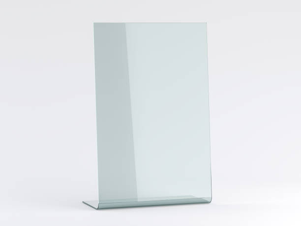 glass stand for booklets on white background. mockup. 3d - vinyl banner mockup stock photos and pictures