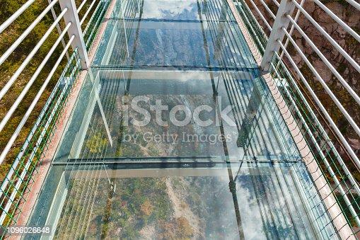 glass bridge on a precipice in the mountains, China