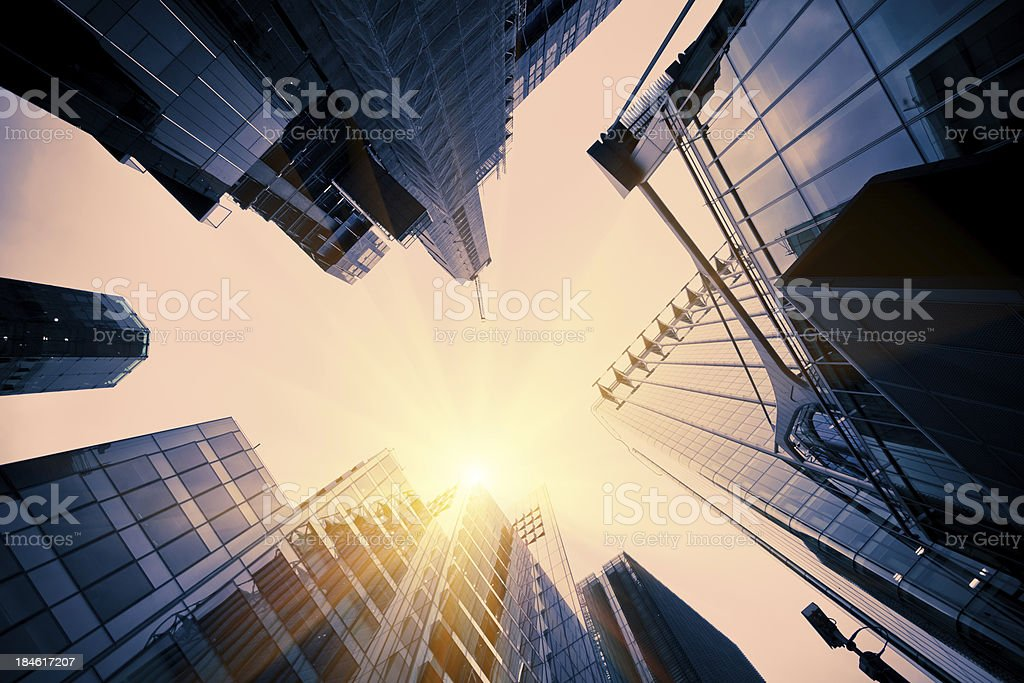Glass Tall Buildings in Financial District stock photo