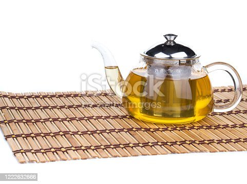 Glass tea pot with tea. Isolated in a white background. Close-up.