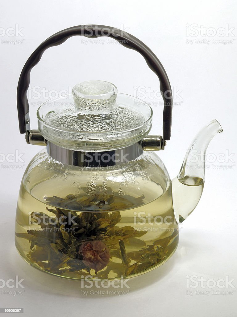 Glass teapot with tea royalty-free stock photo
