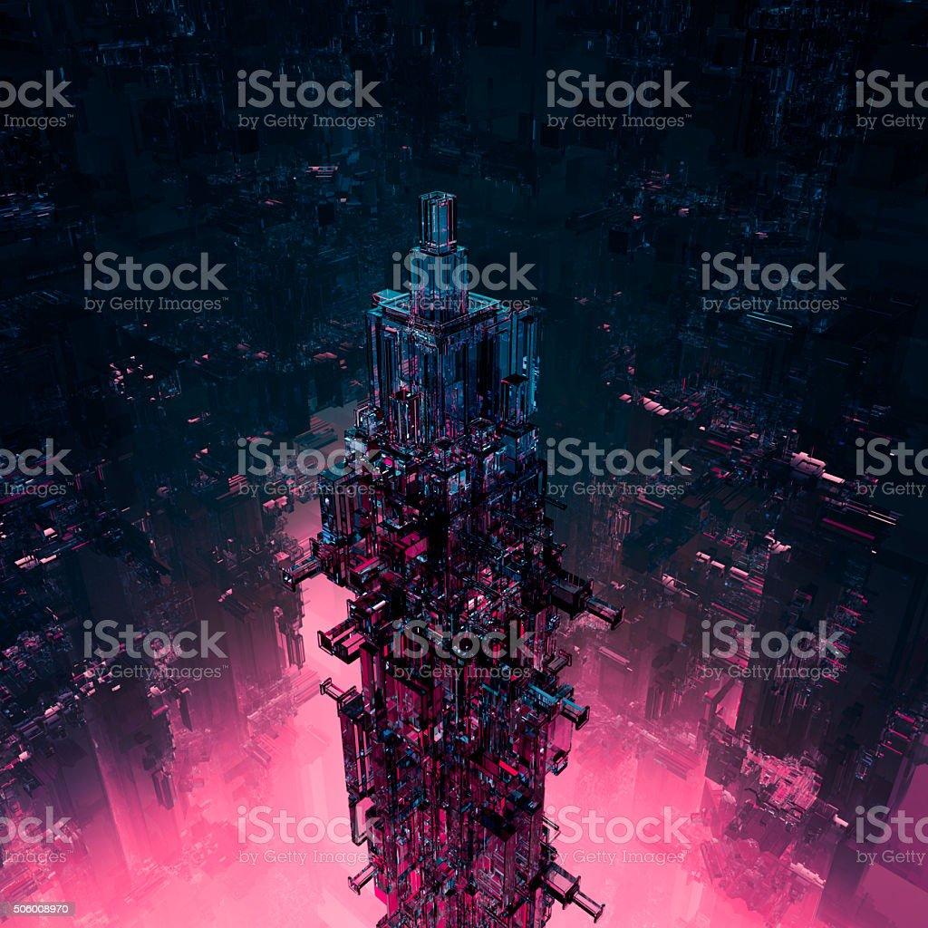 Glass technocore city stock photo