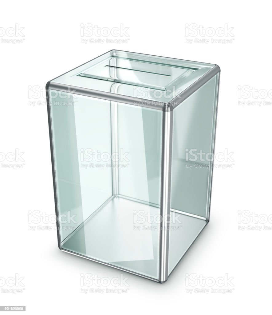 glass transparent ballot box isolated on white background. 3d illustration royalty-free stock photo