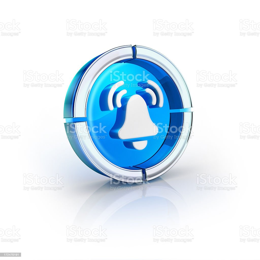 glass transparent icon of Arlam or alert bell stock photo
