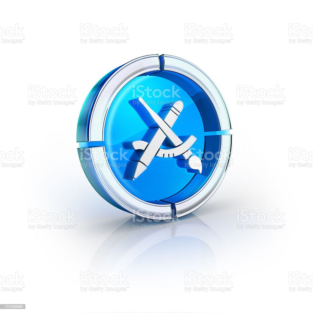 glass transparent icon of drawing tools Symbol royalty-free stock photo