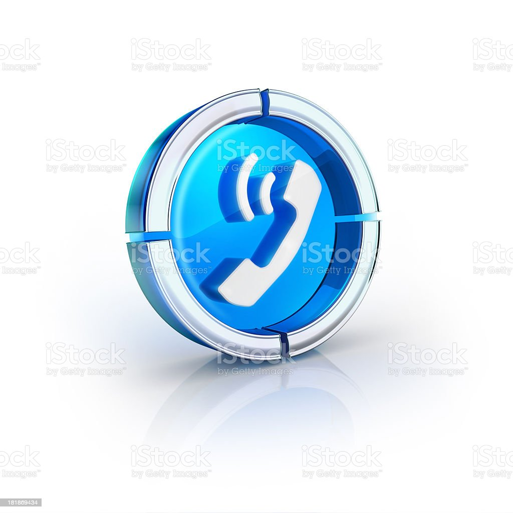 glass transparent icon of phone call Symbol royalty-free stock photo