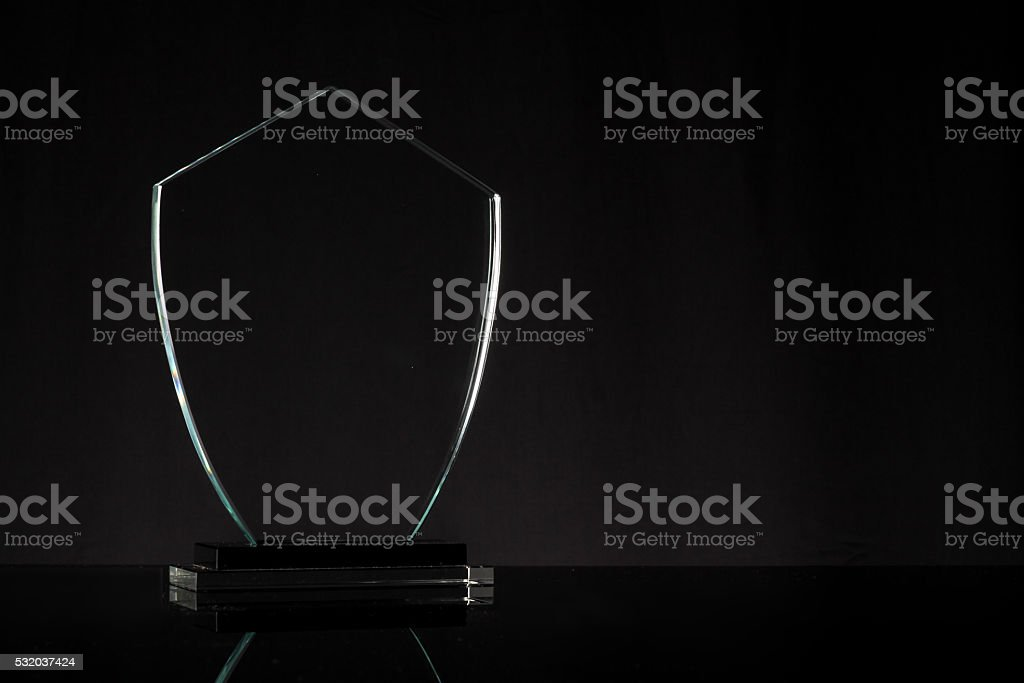 glass trophy isolated stock photo