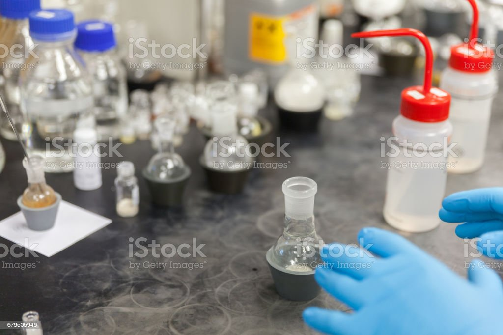 glass tube and equipment in laboratory royalty-free stock photo