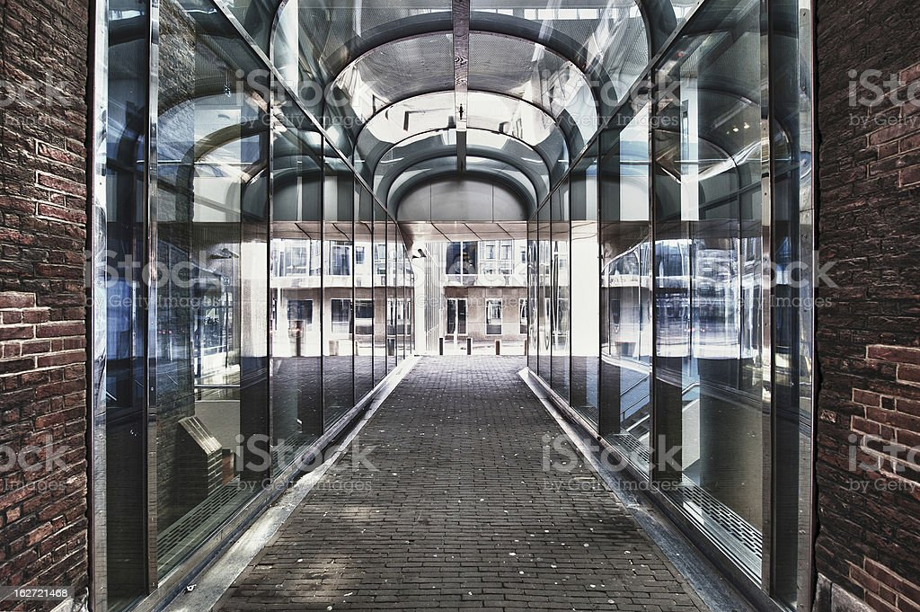 Glass Tunnel, Den Haag, Netherlands royalty-free stock photo
