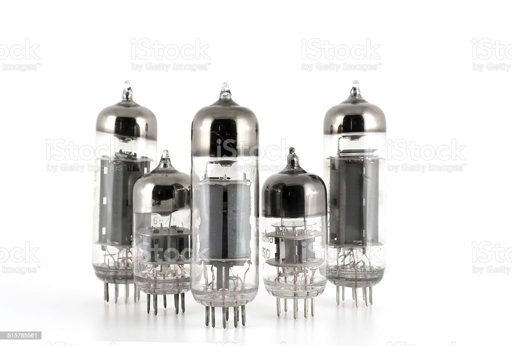 Glass vacuum radio tubes stock photo