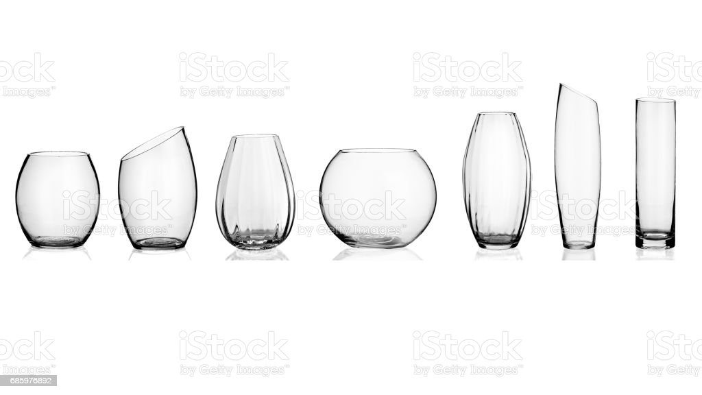 Glass vase, collage, on white background stock photo