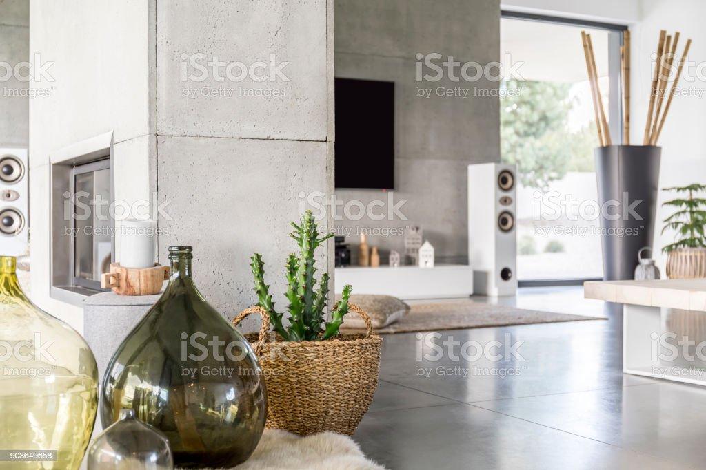 Glasvase Im Wohnzimmer Stockfoto und mehr Bilder von Bambus ...