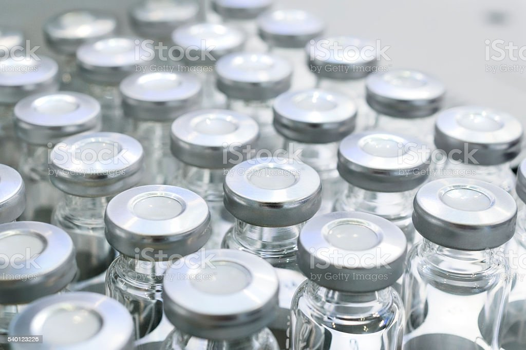 Glass vials for liquid samples. stock photo