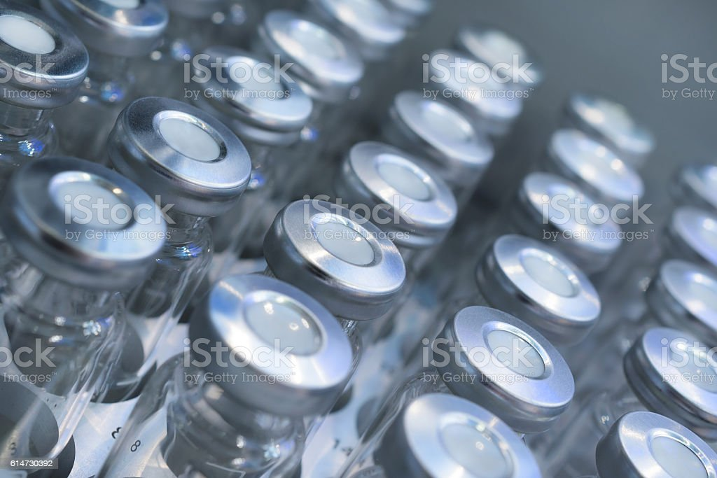 Glass vials for samples. stock photo