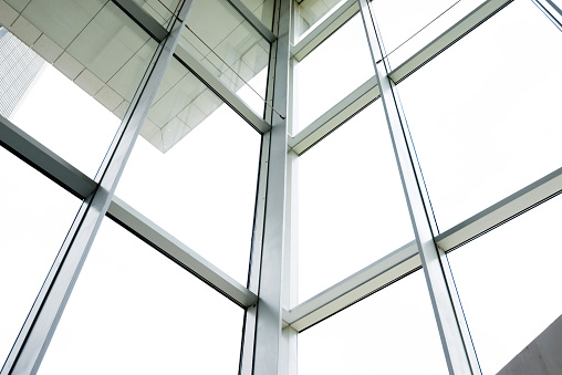 Glass wall in morden office building.
