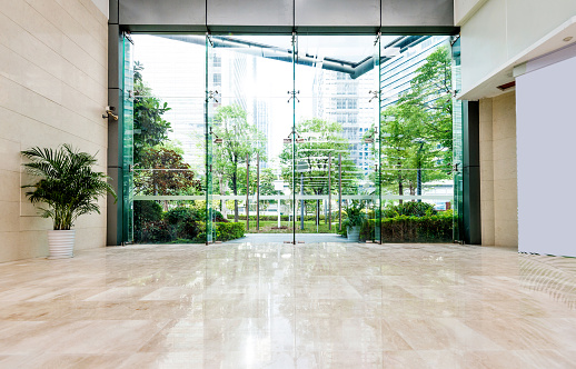istock Glass wall of modern office building 1141219861