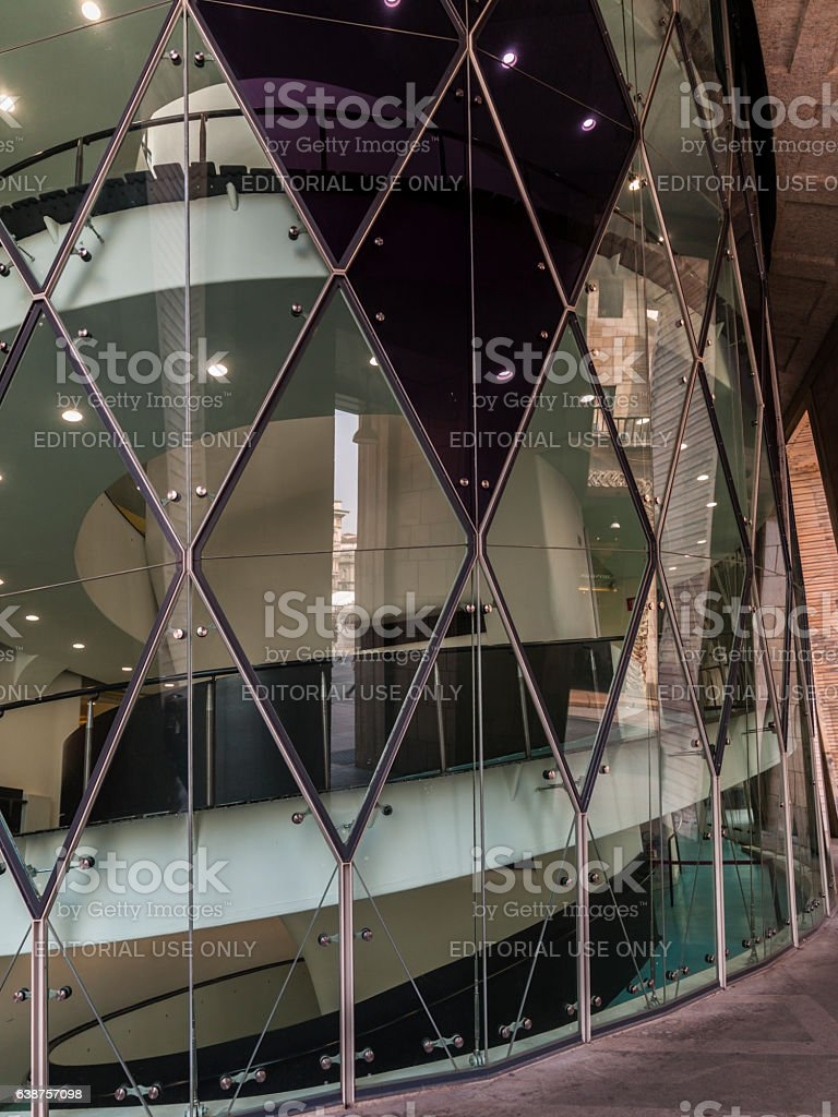 Glass wall of staircase leading to the Museo del Novecento stock photo